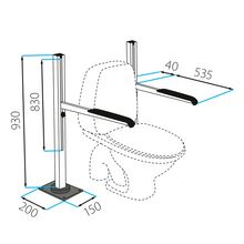 Toilet support frame, floor-mounted
